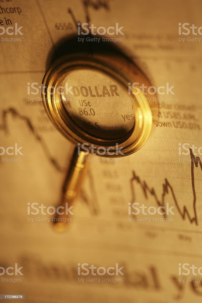 Dollar under the Magnifying Glass royalty-free stock photo
