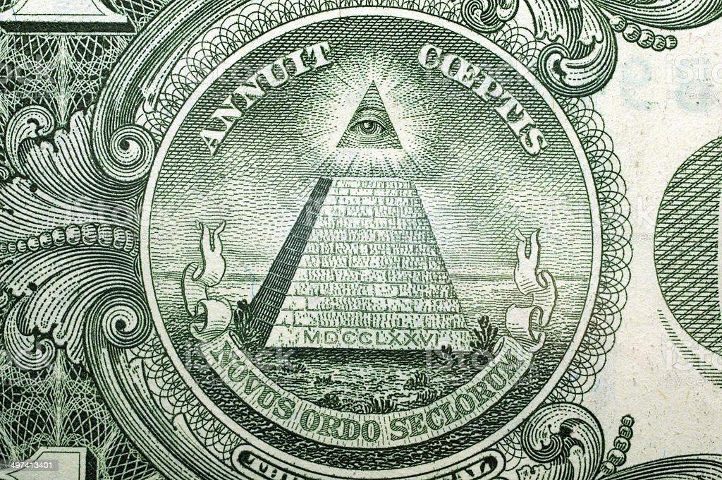 1 Dollar USA, pyramid,  for a background . Macro stock photo