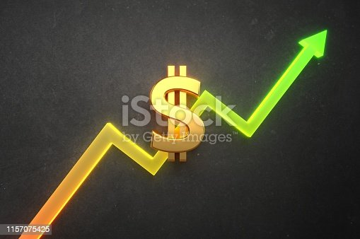1014755036 istock photo Dollar Value on bull market 1157075425