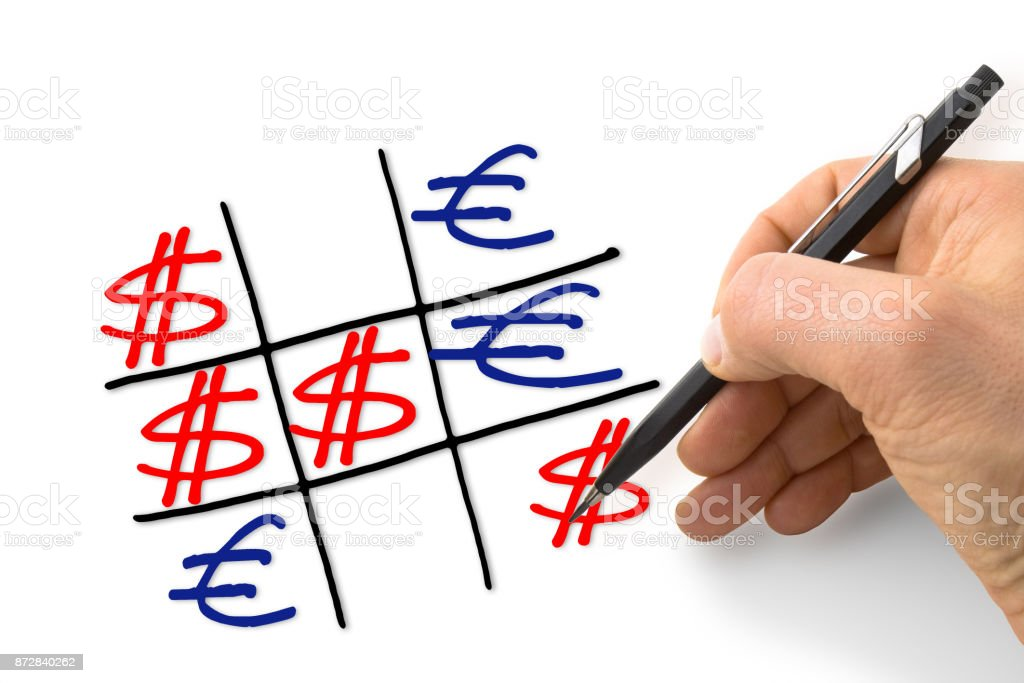 Dollar versus euro: dollar gains against the euro - concept image with hand drawing the tris game stock photo