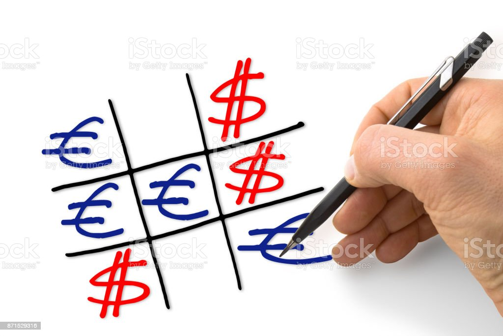 Dollar versus euro: euro gains against the dollar - concept image with hand drawing the tris game stock photo