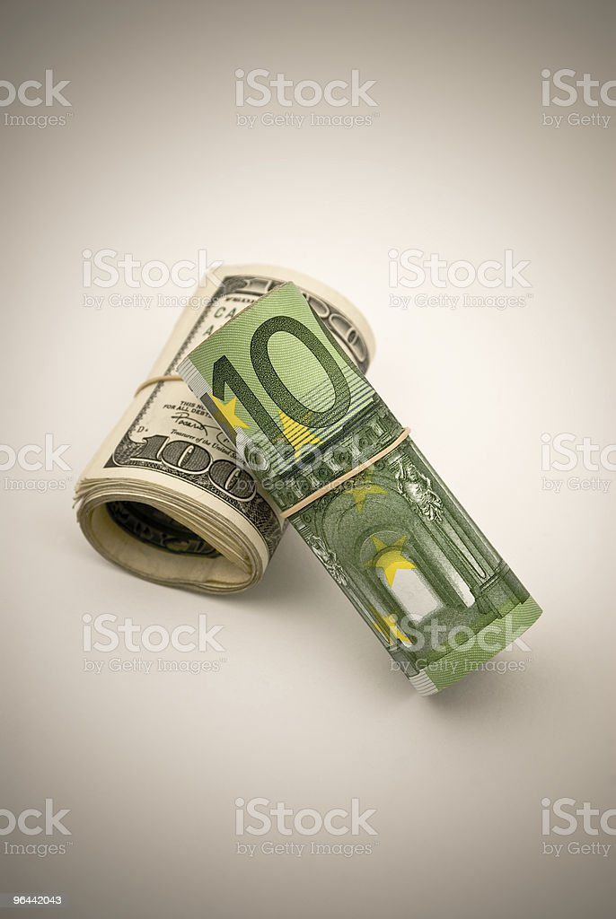 Dollar versus Euro stock photo