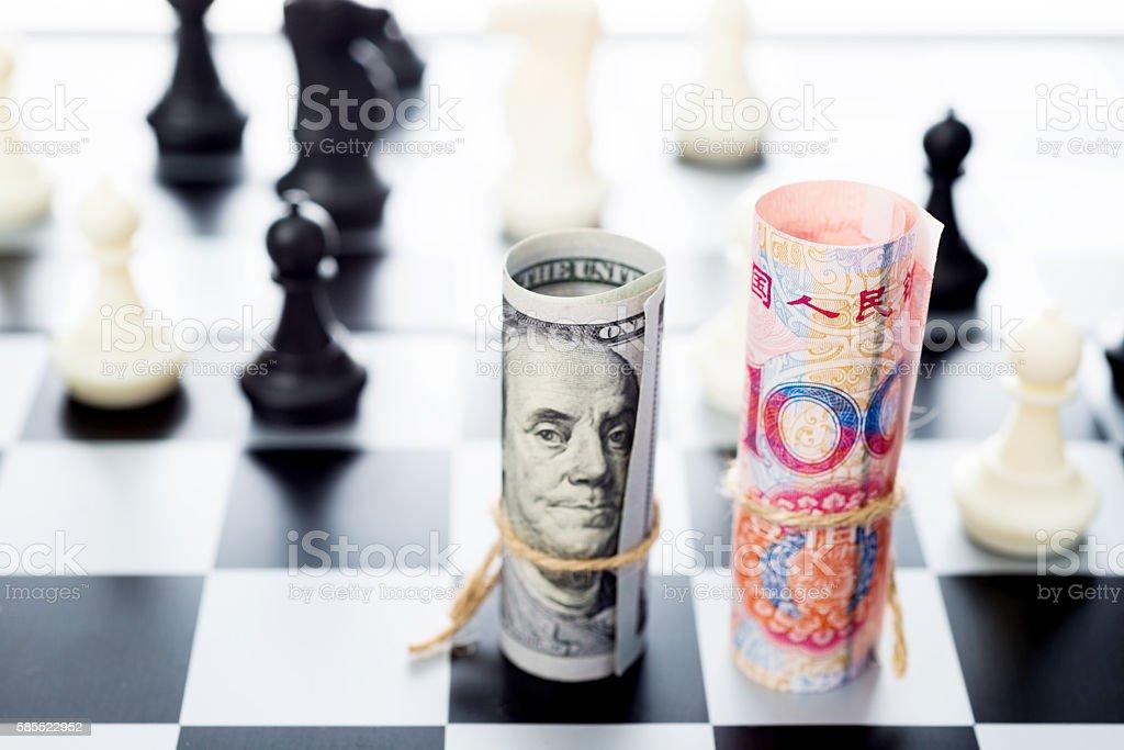 US dollar vs China yuan stock photo