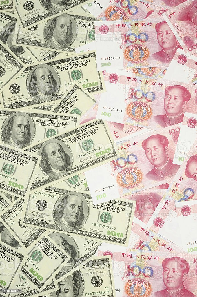 US dollar vs China yuan royalty-free stock photo