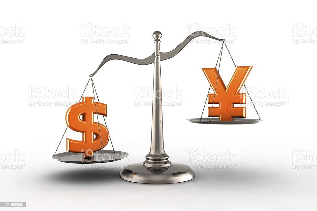 Dollar vs Yen stock photo