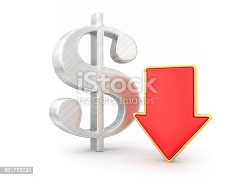 842160218istockphoto Dollar with arrow down 531758291