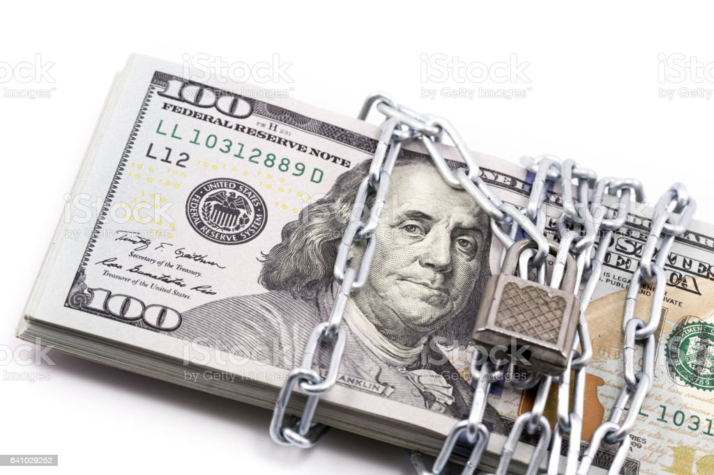 dollar with chain stock photo
