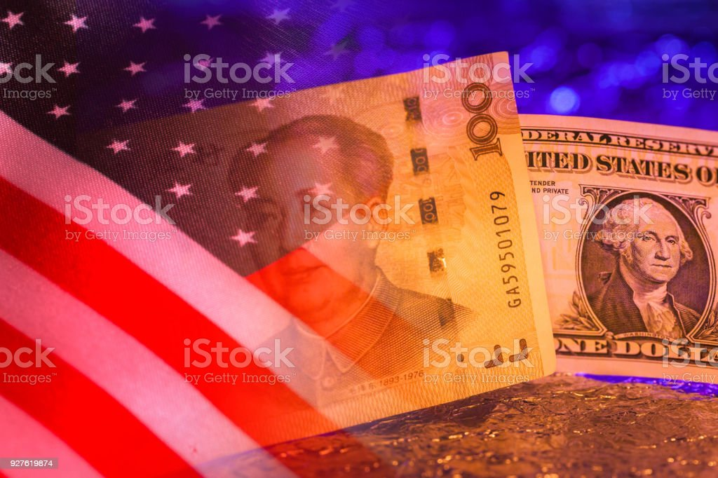 US dollar with Chinese yuan together stock photo