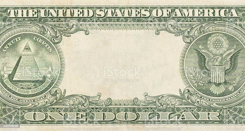U.S. dollar with empty middle area stock photo