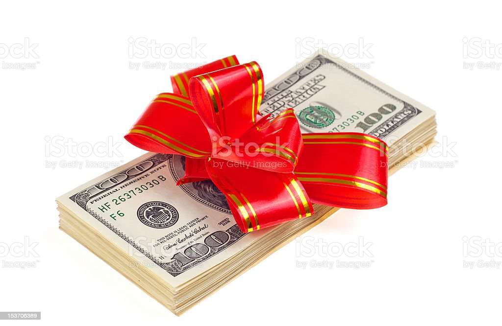 Dollar with holidays bow royalty-free stock photo