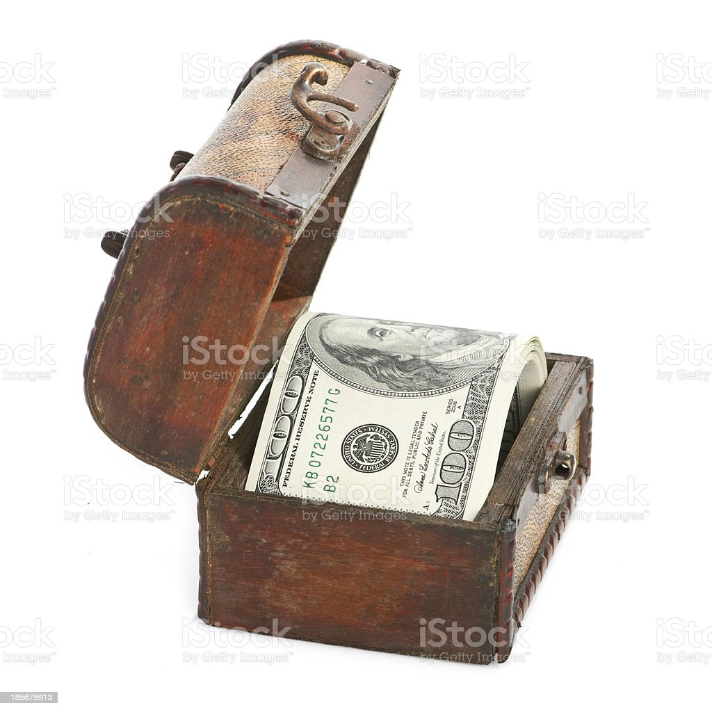Dollar-bills in the old wooden treasure chest royalty-free stock photo