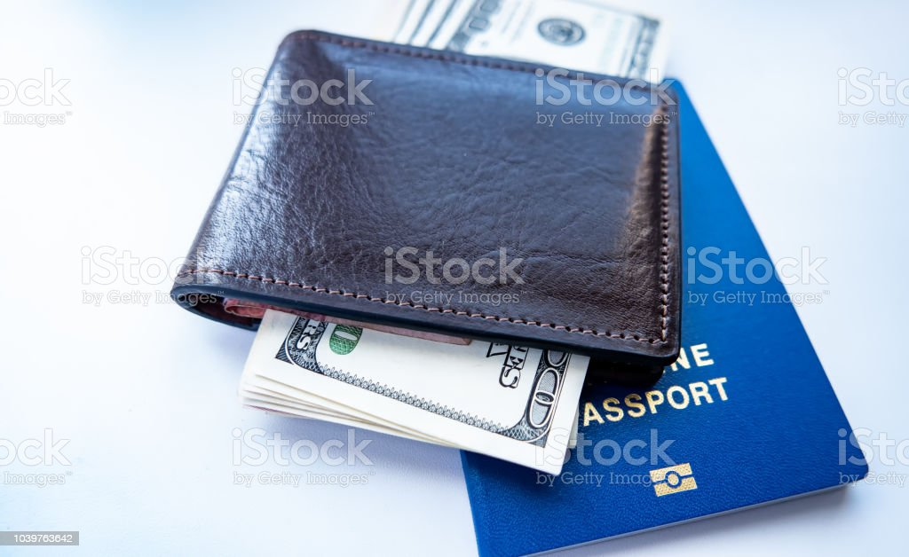 dollars and a passport are in the wallet
