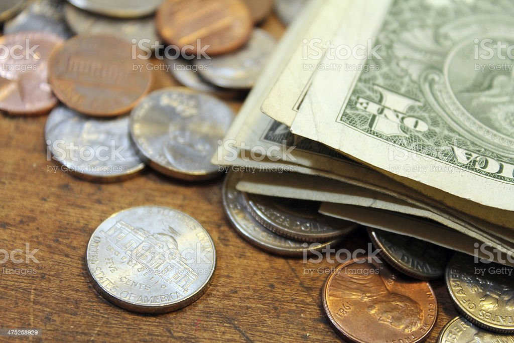 Dollars and cents stock photo