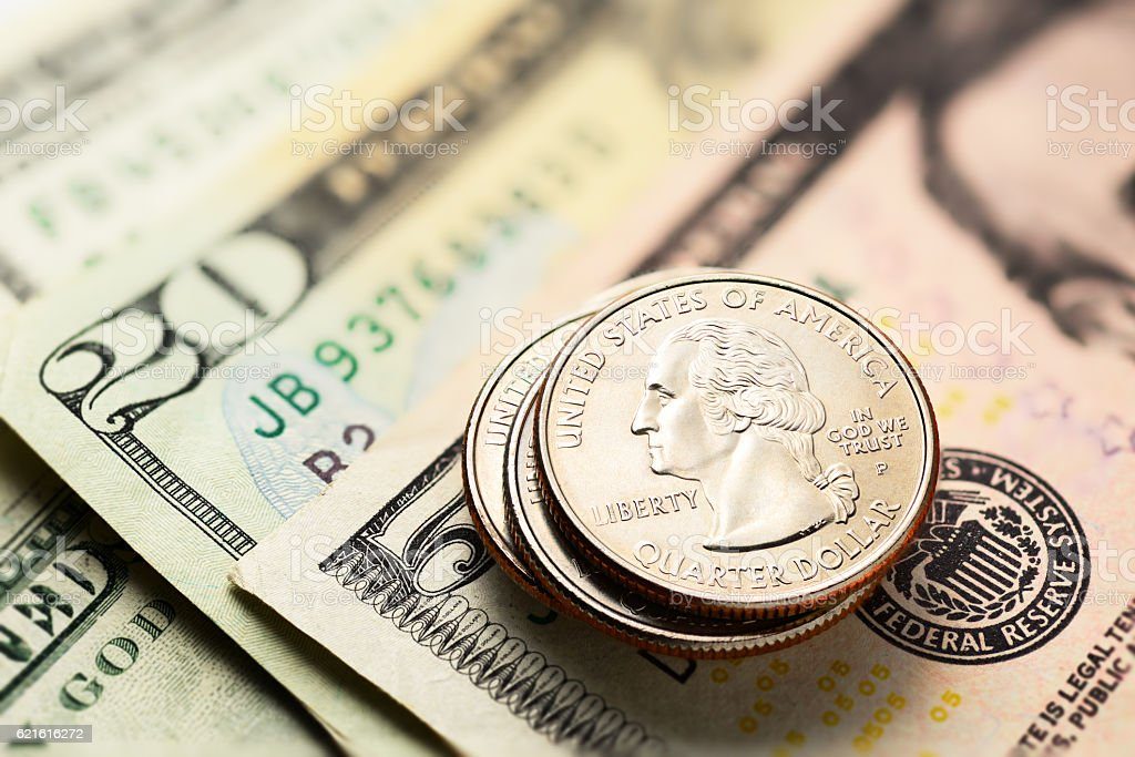 US dollars and cents stock photo