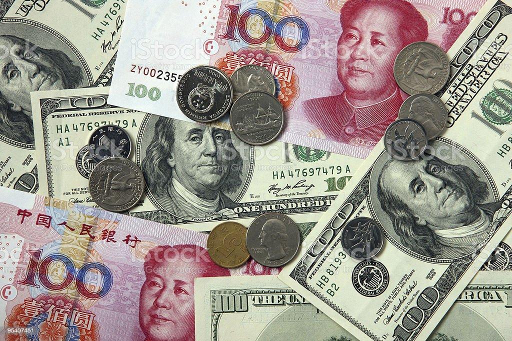 US-Dollar und Chinesischer Yuan Lizenzfreies stock-foto