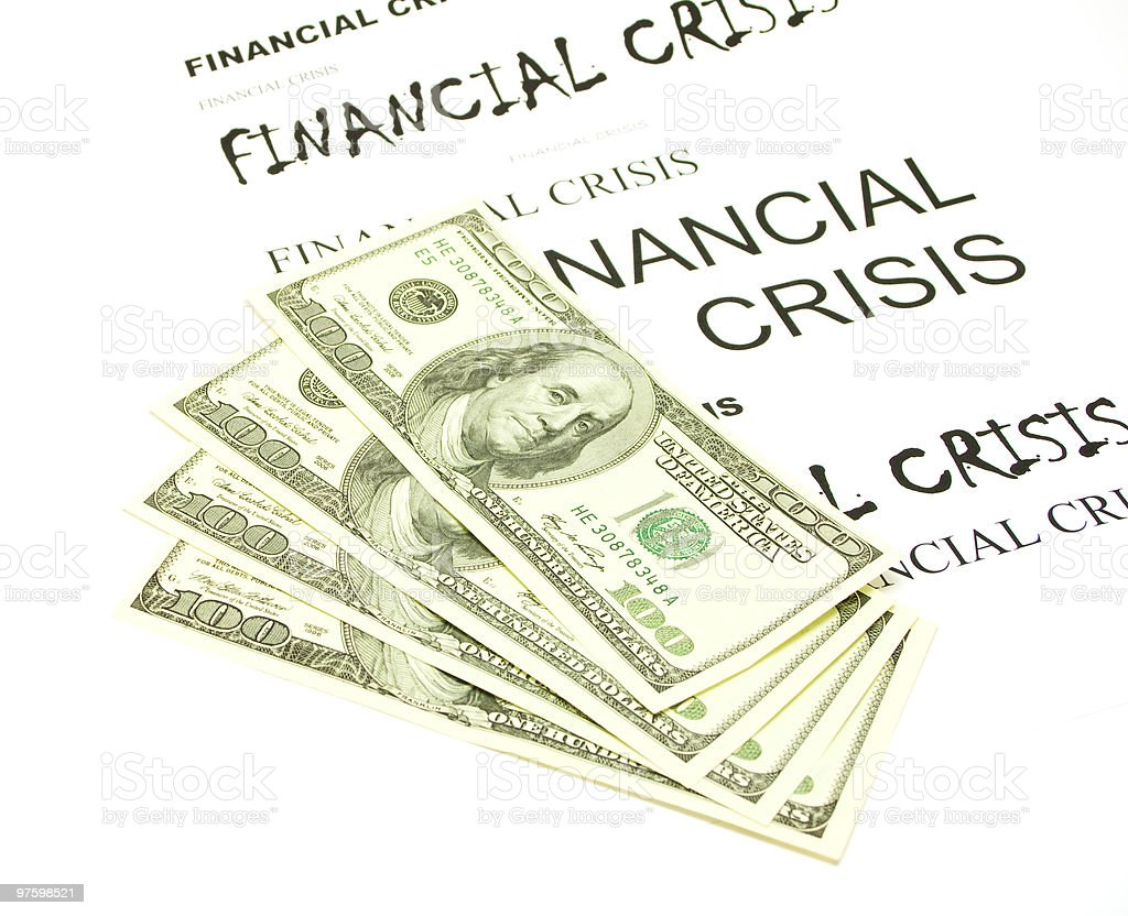 Dollars and crisis royalty-free stock photo
