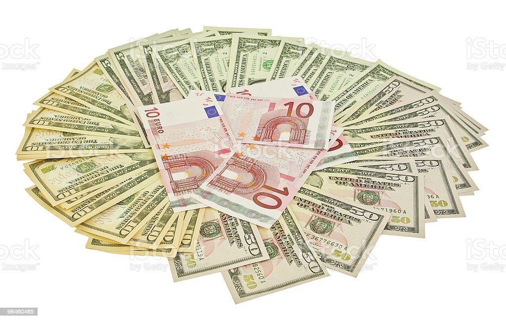 Dollars and euros royalty-free stock photo