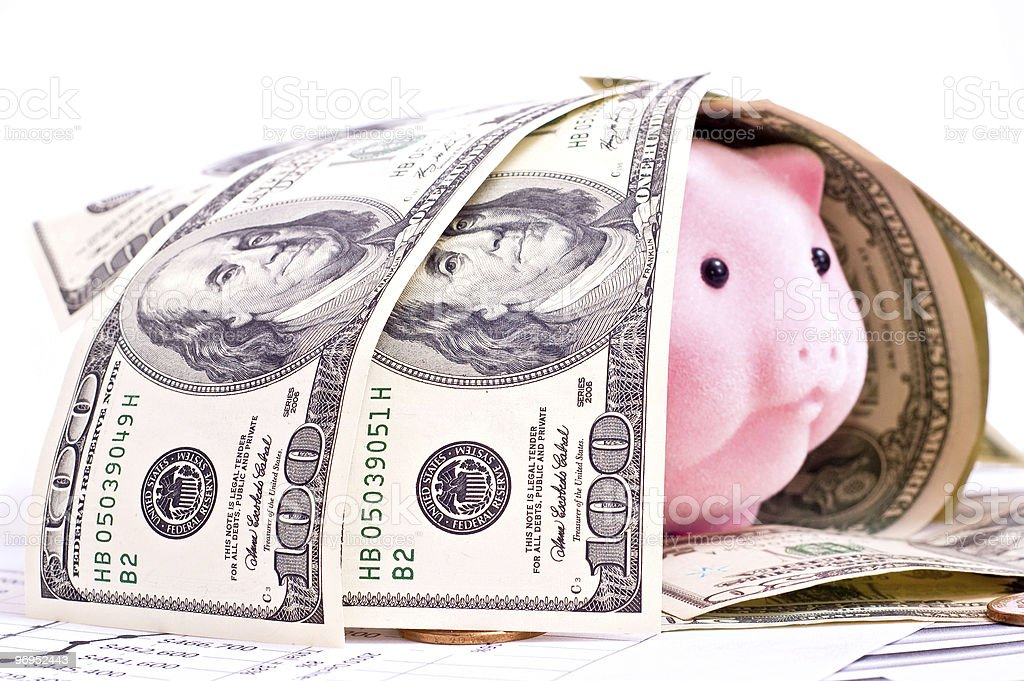 Dollars and piggy bank royalty-free stock photo