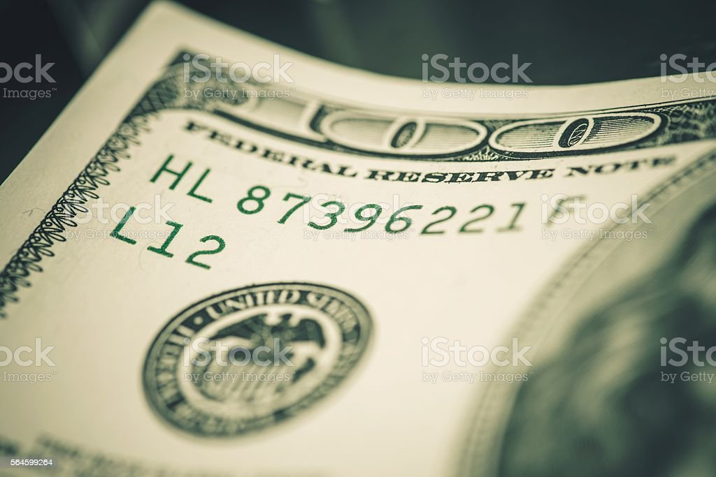 Dollars Banknote Serial Number stock photo