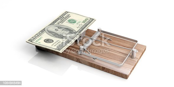 American dollars banknotes on a mouse trap isolated on white background. 3d illustration