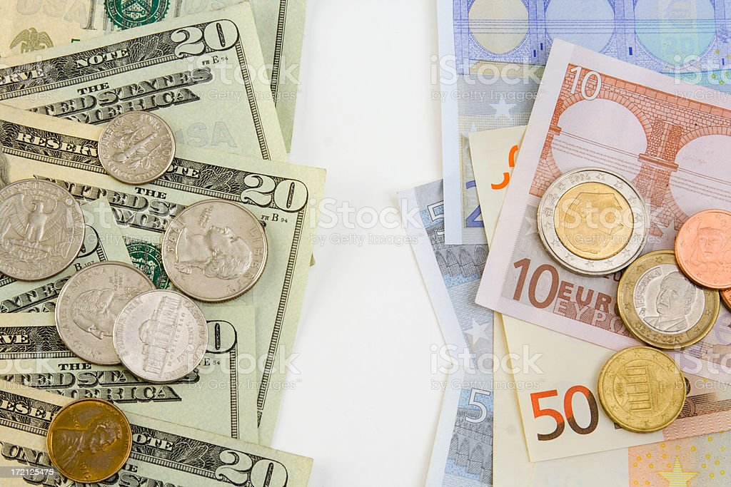 Dollars & Euros Exchange royalty-free stock photo