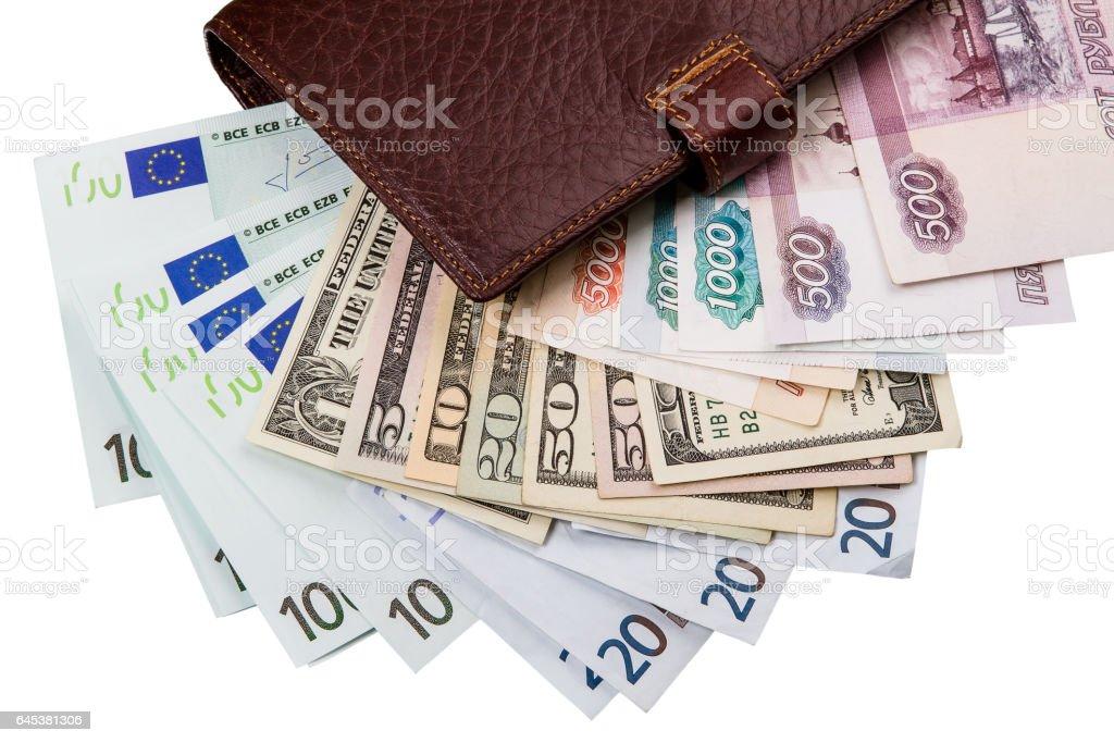 Dólares estadounidenses, euros, ruso Robles en el bolsillo - foto de stock