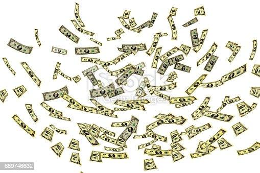 istock Dollars fluttering in space 689746632