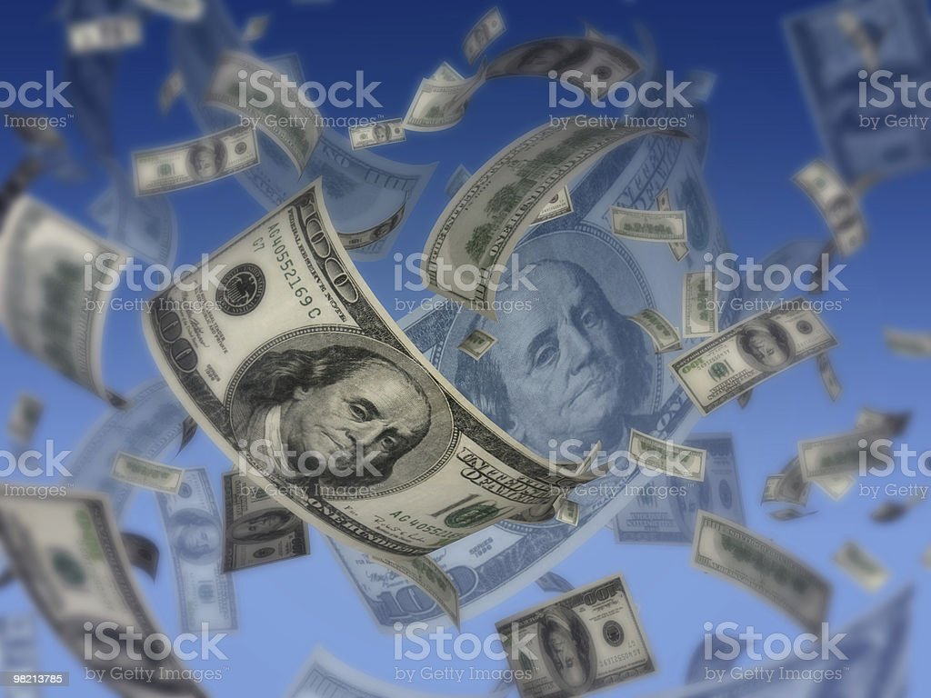 Dollars fly concept royalty-free stock photo