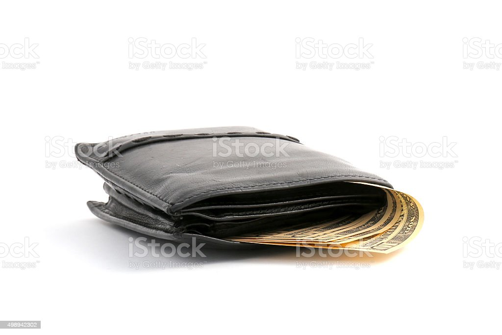 10 dollars from leather wallet stock photo