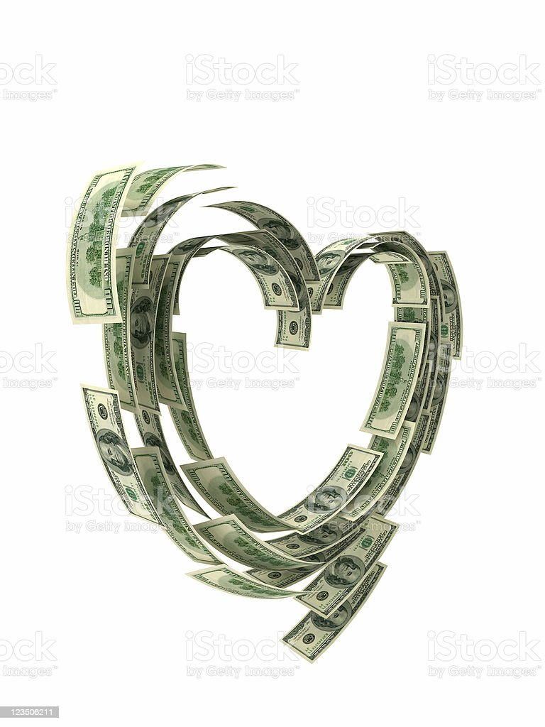 Dollars heart stock photo