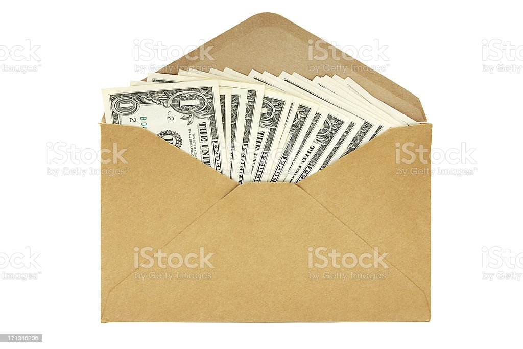 Dollars in a Brown Envelope royalty-free stock photo