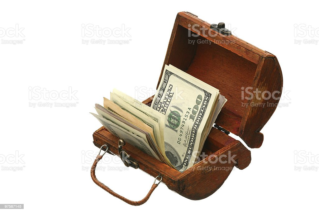 Dollars in a trunk royalty-free stock photo