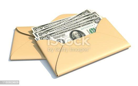 istock Dollars in envelope 3D 1150603609