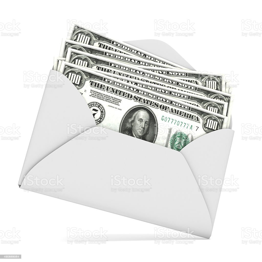 Dollars in envelope. 3D render stock photo