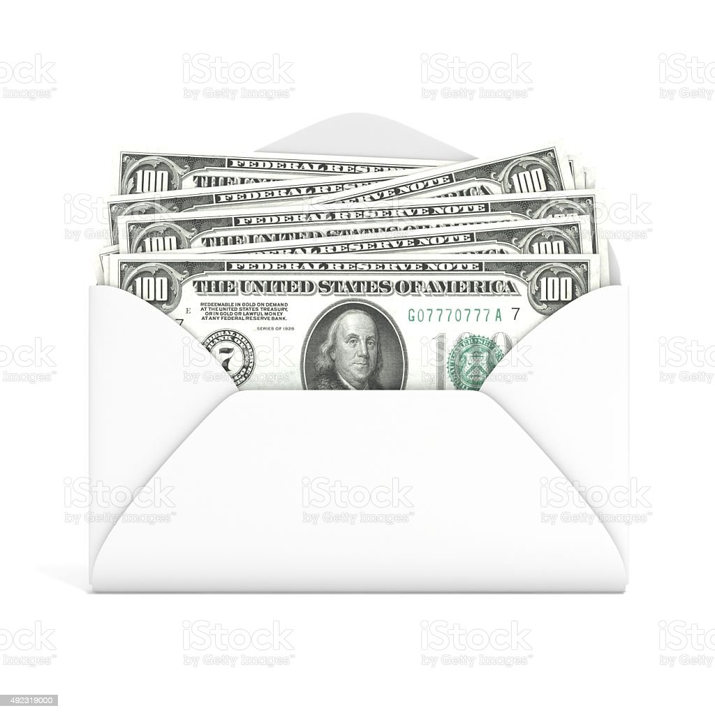 Dollars in envelope. Front view. 3D render stock photo