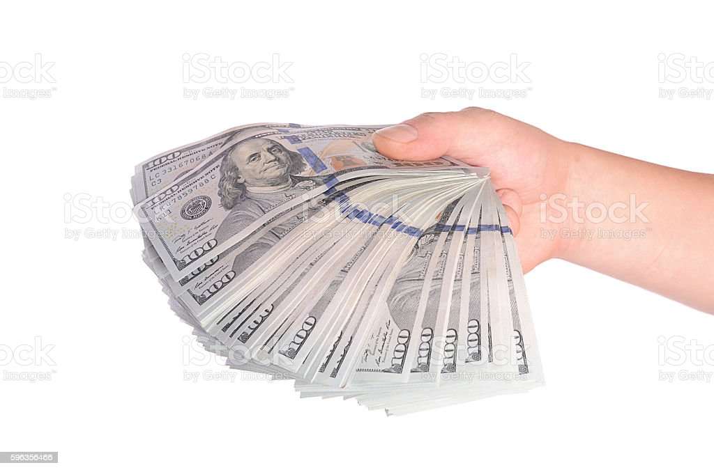 Dollars in man hand isolated on white background royalty-free stock photo