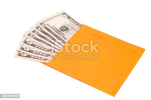 dollars in open envelope isolated on white
