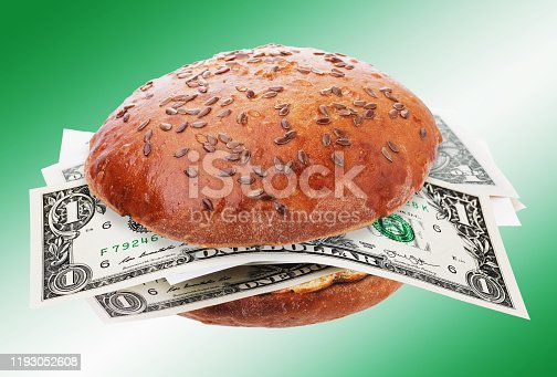 Dollars instead of hamburger toppings. Food Cost Concept