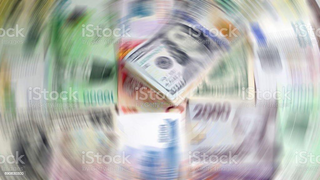 US dollars, Korean Won, Euro bills and some money bills and banknotes. stock photo