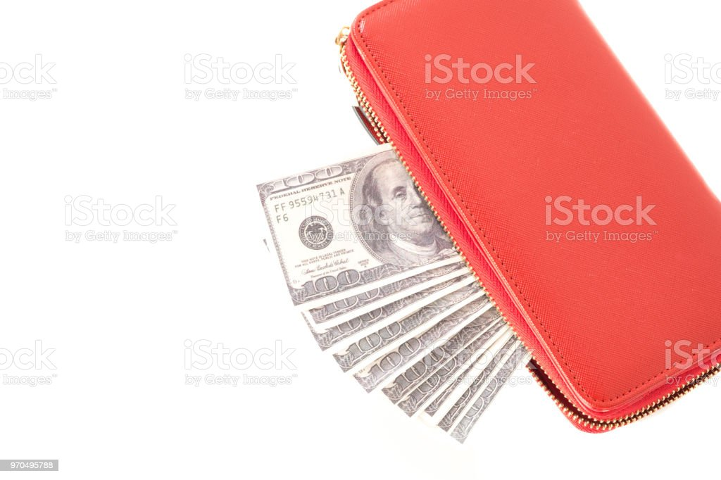 Dollars, Money american in red women's purse on white background. stock photo