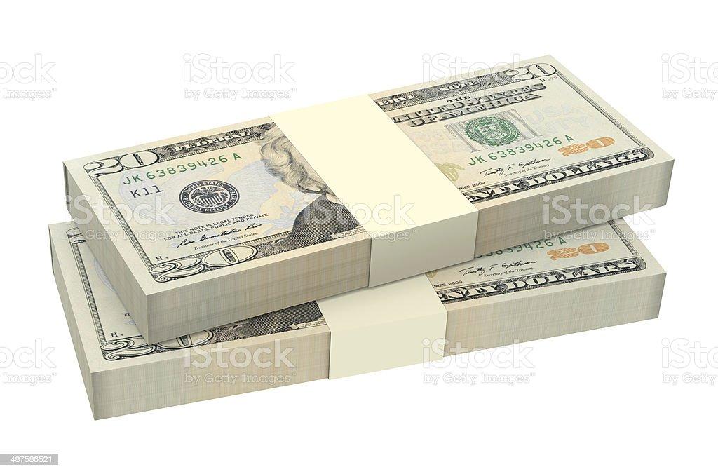 Dollars money isolated on white background. stock photo