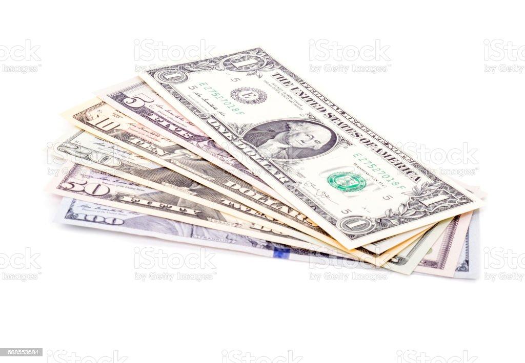 US Dollars of Various Denomination Isolated stock photo