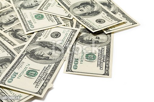 istock Dollars on a white background 667569114