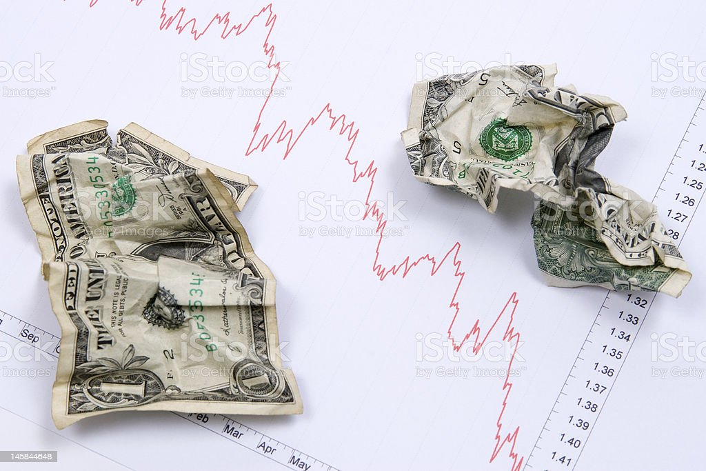 Dollars on market chart royalty-free stock photo