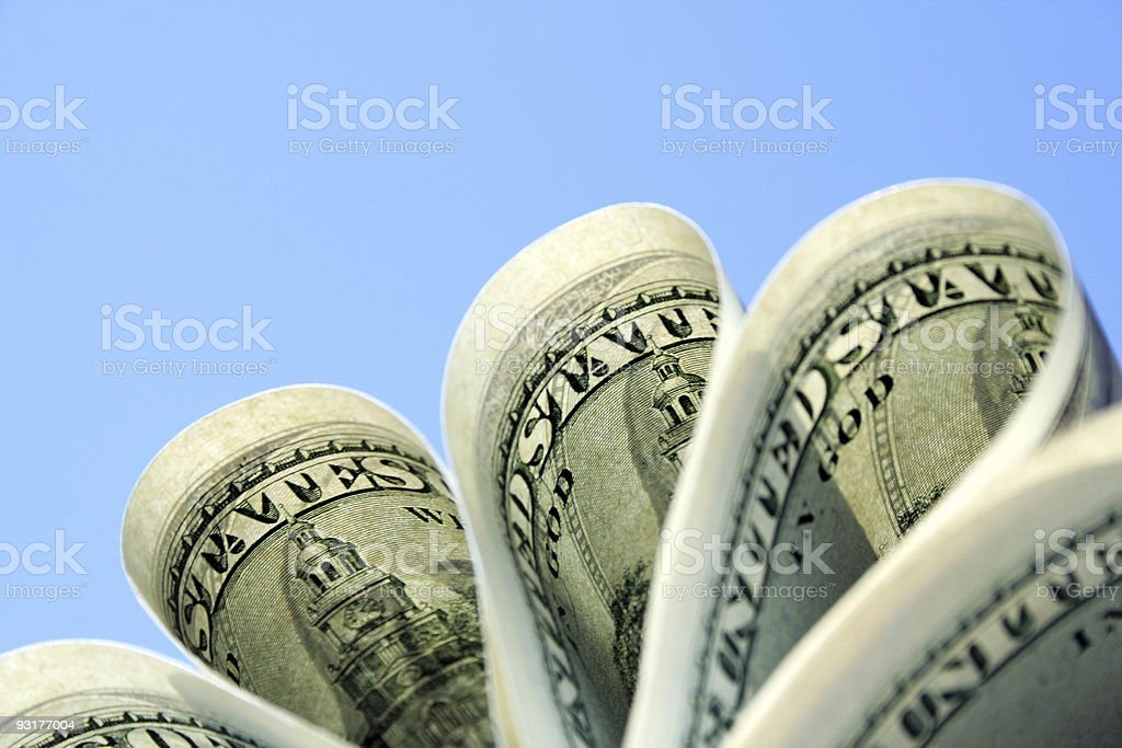 dollars on sky background royalty-free stock photo