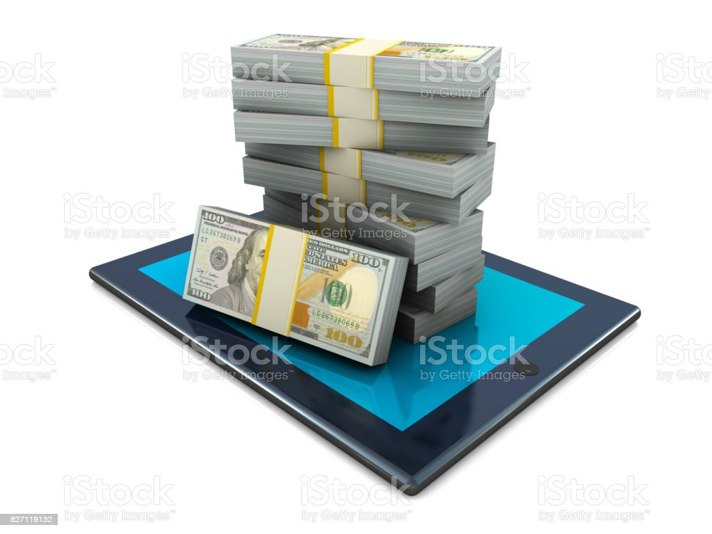 Dollars on Tablet PC stock photo