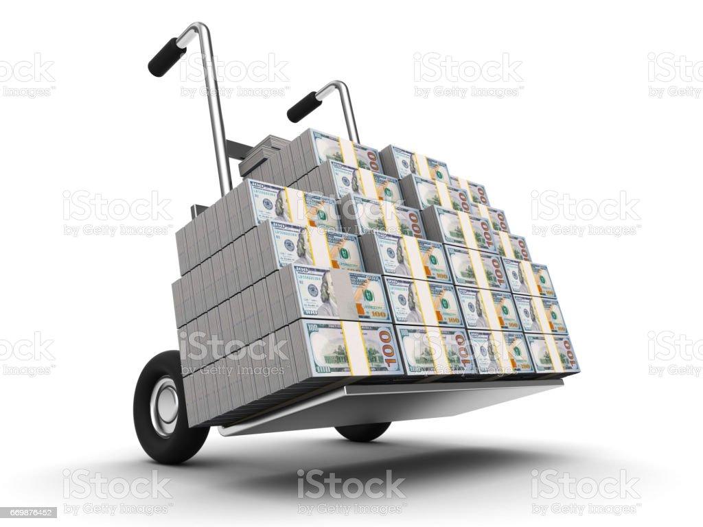 dollars on truck stock photo