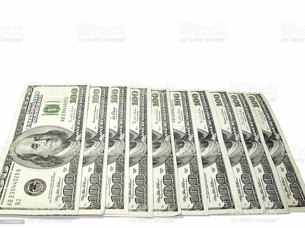 $1000 dollars  One thousand dollars, stock photo