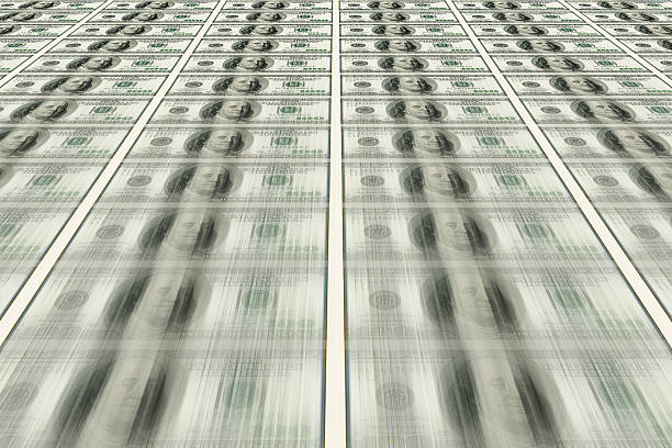 Dollars pile as background stock photo