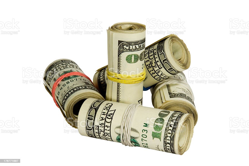 Dollars rolls isolated on white background with clipping path royalty-free stock photo